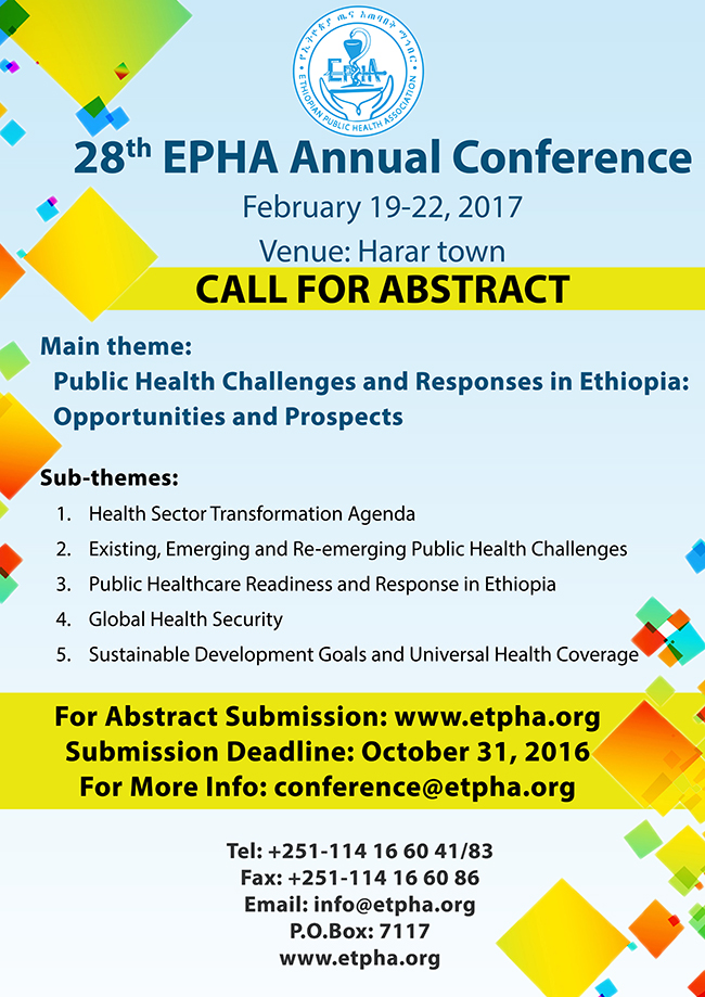 28th EPHA Conference Call for Abstract Poster